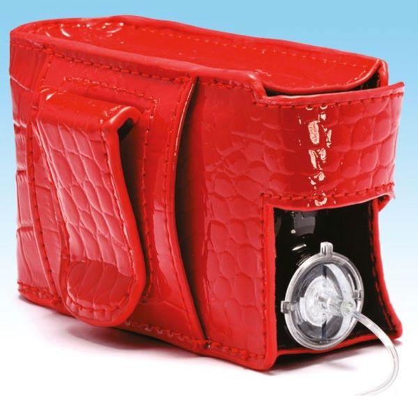 Červené kožené pouzdro na pumpu Medtronic